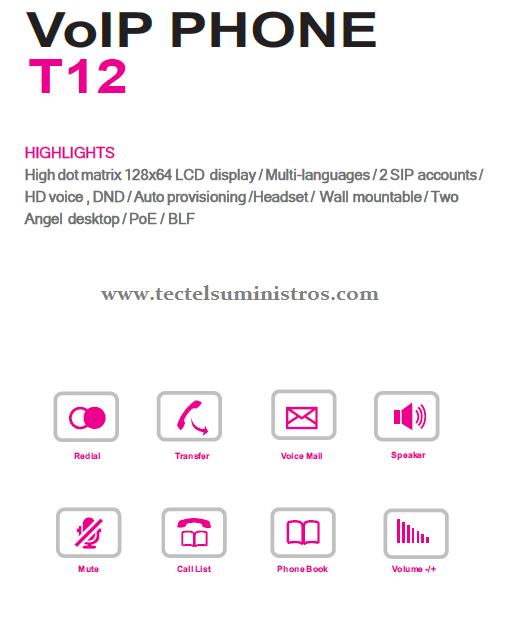 Teléfono IP Basico T12
